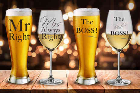 Direct 2 public - His & hers beer and wine glass set - Save 57%