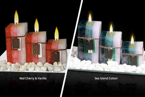 Direct 2 public - Three aromatic wax candles on frosted glass on frosted glass - Save 70%