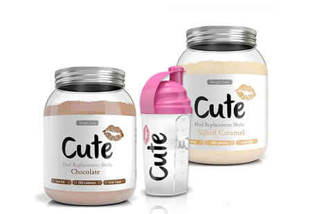 Cute Nutrition - Pack of 2x 1kg meal replacement shakes and a shaker - Save 57%