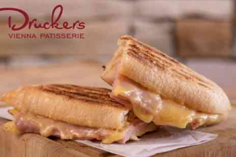 Druckers Vienna Patisserie - Ciabatta, Gateau Slice and Hot Drink for Up to Four - Save 41%