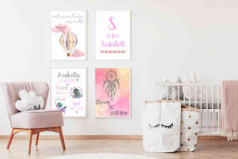 Your Perfect Canvas - 12 Inch x 8 Inch personalised framed nursery print - Save 80%