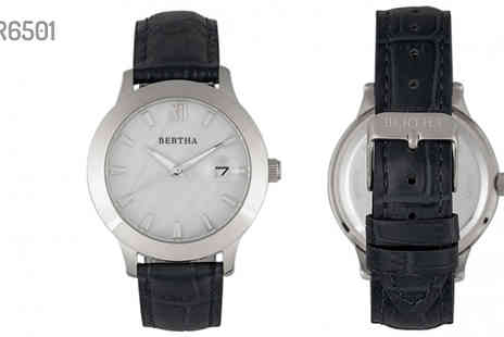 Ideal Deal - Bertha Eden Mother of Pearl Leather Band Watch With Date Choose from 7 Designs - Save 90%