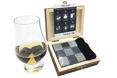 Home Season - Whiskey Cooling Stones With Velvet Pouch And Wooden Box - Save 82%