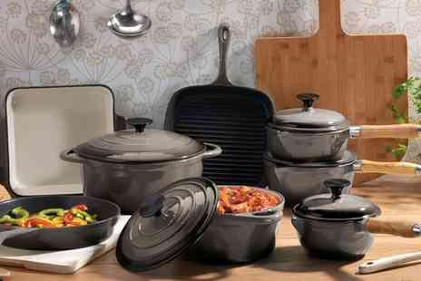 Groupon Goods Global GmbH - Cooks Professional Three, Five or Eight Piece Cast Iron Set in Choice of Colour - Save 65%