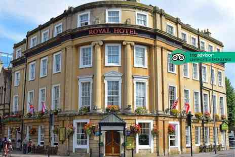 The Royal Hotel - One or two night Bath stay with breakfast, glass of champagne, bottle of wine, three course dinner and cream tea for two - Save 40%