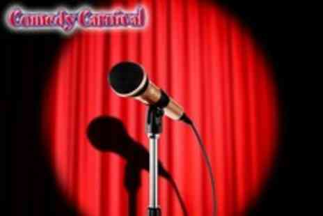 Comedy Carnival - Two tkts to Comedy Carnival on Fri or Sat in Leicester Sq. or Clapham plus a wine each & nightclub entry - Save 57%