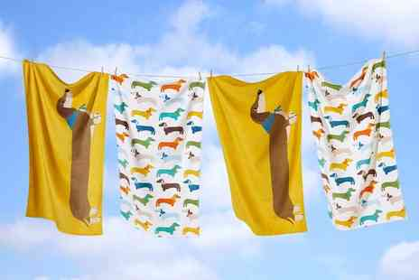 Groupon Goods Global GmbH - One or Two Sausage Dog Velvet Touch Bath Towels - Save 0%