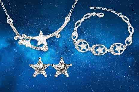 Evoked Design - Shooting star crystal tri jewellery set - Save 91%