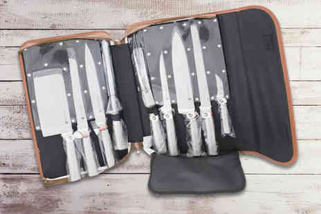 Direct 2 public - Nine piece knife set with brown case - Save 54%