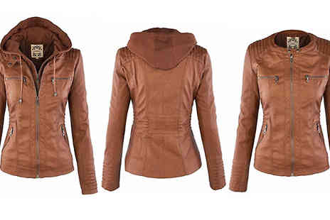 Blu Apparel - Faux Leather Hooded Jacket Available in 3 Colours And Sizes 8 To 16 - Save 50%