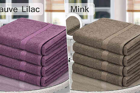 Fusion - 4 or 8 Piece Egyptian Cotton Bath Towels in 13 Colours With Free Delivery - Save 80%