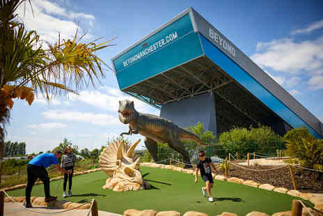 Trafford Golf Centre - Junior ticket for 18 holes of Dino Falls Adventure Golf including a slushie or Starbucks drink, pizza, 40 balls on the driving range and club hire, or adult ticket including a glass of wine or beer - Save 48%