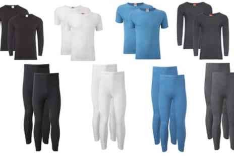 Groupon Goods Global GmbH - Mens Two Pack Thermal Base Layer Tshirts or Long Johns - Save 0%
