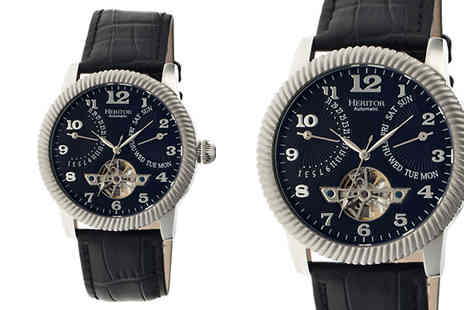 Ideal Deal - Heritor Automatic Piccard Semi Skeleton Leather Band Watch Choose Four Designs - Save 91%