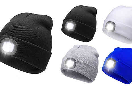 Home Season - Beanie Hat with Led Battery Operated Light Choose from 4 Colours - Save 75%