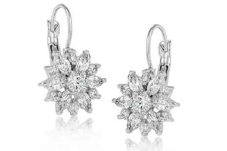 GameChanger Associates - A Pair of floral daisy clear crystal earrings - Save 90%