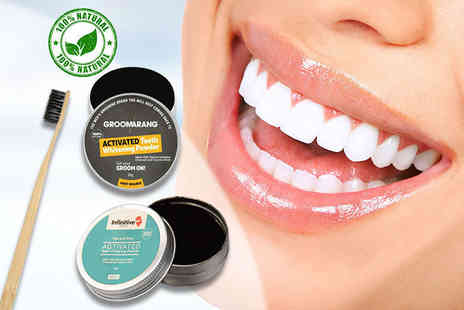 Forever Cosmetics - An advanced charcoal teeth whitening powder And bamboo charcoal brush - Save 80%