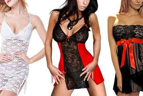 Groupon Goods Global GmbH - Womens Sensual Babydoll with Matching G String and Eye Mask - Save 0%