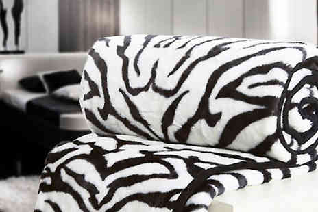 Fusion - Zebra Print Mink Throws Choose from 2 Sizes - Save 86%