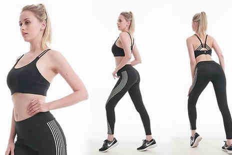 Best mall ever - Reflective Striped Fitness Leggings Available in Three Sizes - Save 80%