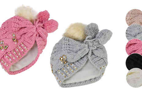 Pearl Info - Knitted Wool Hat With Fur Pompom Available in 5 Colours - Save 46%