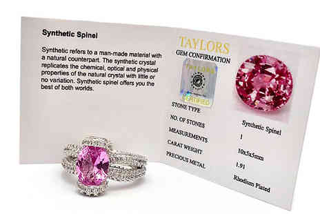 Taylors Jewellery - Oval Cut Simulated Pink Spinel Ring Available in 4 Sizes - Save 91%