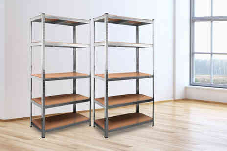 Home Empire - Pair of galvanised heavy duty five tier shelving units - Save 82%