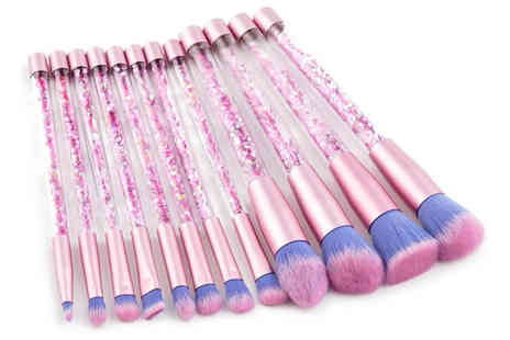 Blu Apparel - 12 piece glitter makeup brush set - Save 0%