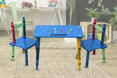 Who Needs Shops - Childrens wooden crayon table and chairs set - Save 73%