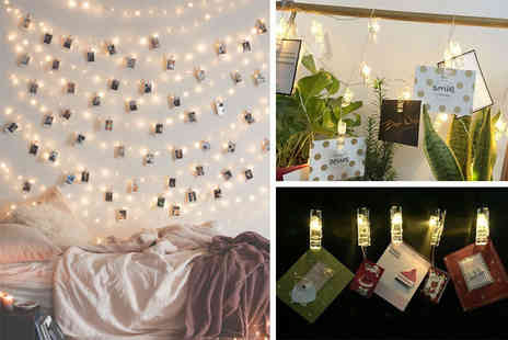 Black Feather - Set of 16 Led photo clip string lights - Save 78%