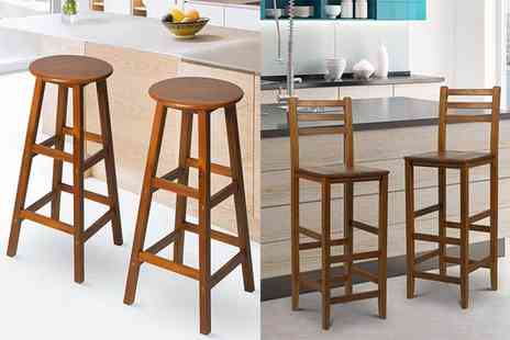Mhstar - Set of two round wooden bar stools or Set of two high back wooden bar stools - Save 52%