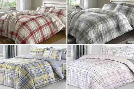 I Want Wallpaper - Single tartan duvet set or double tartan duvet set or king tartan duvet set or super king duvet set choose from four colours - Save 69%