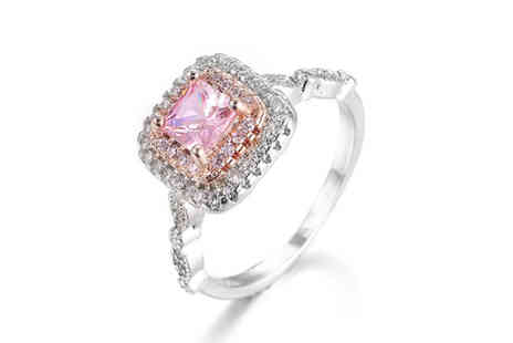 Taylors Jewellery - Square cut pink lab created sapphire ring choose four sizes - Save 86%