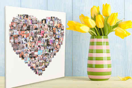 Your Perfect Canvas - Personalised photo collage canvas choose from four sizes and heart, circle or square shapes - Save 79%