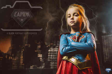 The Click Group - CAPOW superhero photoshoot, an 8x10 Inch airbrushed print and £50 off a wall hanging or album - Save 91%