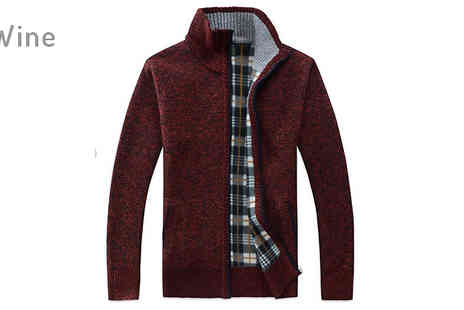 Blu Apparel - Tartan Lined Zip Up Sweater Choose Six Colours And Four Sizes - Save 37%