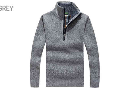 Blu Apparel - Mens Tartan Lined Three Or Four Zip Sweater Choose Four Colours - Save 37%