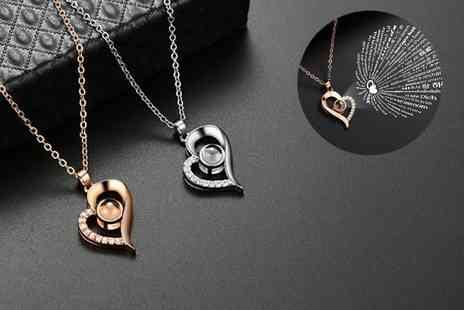 GENOVA INTERNATIONAL - I love you projection heart necklace available in two colours - Save 90%