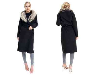 Verso Fashion - Faux fur collar long belted coat choose from three colours - Save 62%