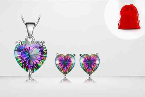 GENOVA INTERNATIONAL - Two piece mystic topaz heart jewellery set including pendant and earrings - Save 93%