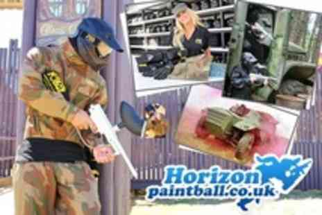 Horizon Paintball - Paintballing For One (£4), Five (£12), Ten (£20) or 20 (£30) Plus 100 Paintballs and Pizza Each at Horizon Paintball (Up to 93% Off) - Save 89%