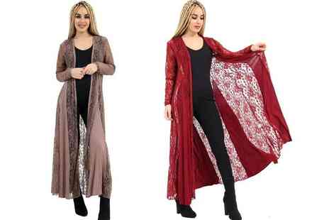 Verso Fashion - Lace maxi cardigan choose from two colours - Save 67%