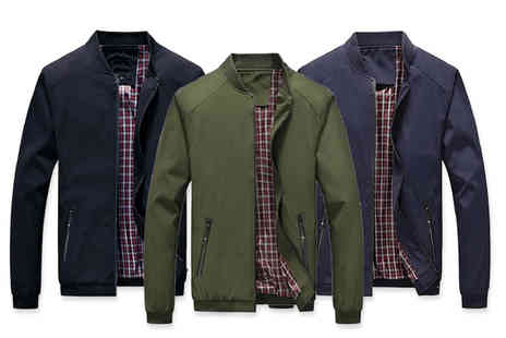 Blu Apparel - Tartan lined Harrington jacket choose from three colours - Save 60%