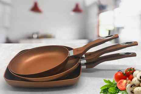 Groundlevel - Three piece chef quality copper coloured pan set - Save 54%