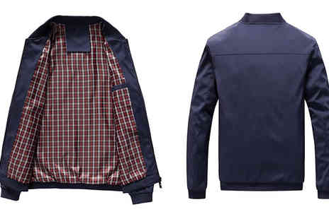 Blu Apparel - Tartan Lined Harrington Jacket Choose Three Colours - Save 60%