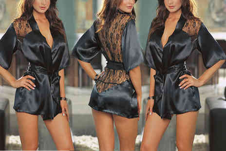 Trifolium - Black satin and lace robe - Save 62%