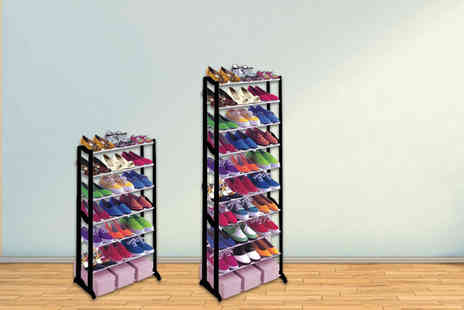Groundlevel - Seven tier shoe rack choose between black and white - Save 80%