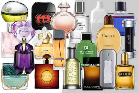 Deals Direct - Mystery perfume deal for him or her Lady Gaga, Hugo Boss, DKkny, Calvin Klein, Burberry, J.Lo, Versace, Paco Rabanne and many more - Save 0%