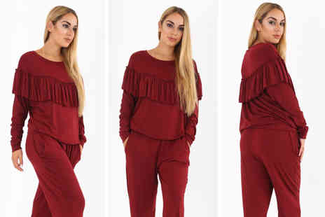 Verso Fashion - Womens frill top tracksuit - Save 57%
