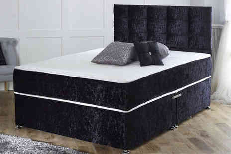 Dining Tables - Crushed velvet divan bed with mattress choose from six sizes and either zero, two or four drawers - Save 75%